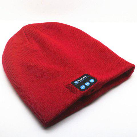 Hot Sale Outdoor Sports Bluetooth Headphones Speaker Mic Winter Warm Knitted Beanie Hat - RED