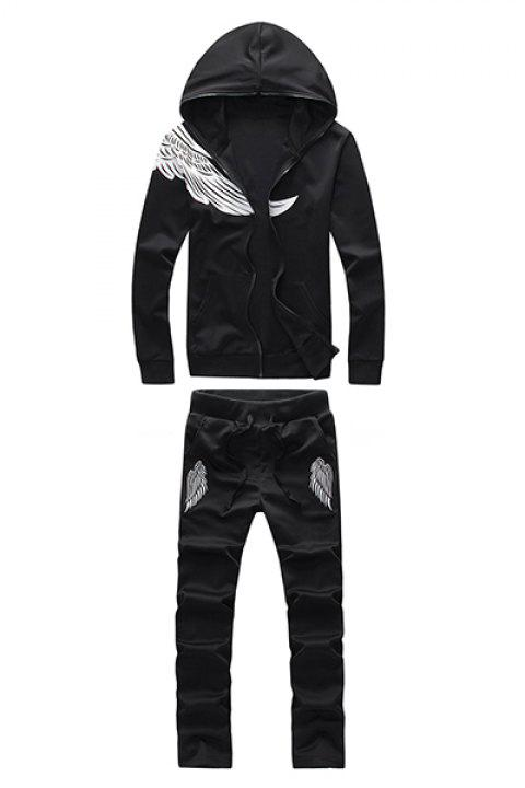 Hooded Wing Print Long Sleeve Men's Sport Suit ( Hoodie + Pants ) - BLACK L