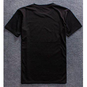 3D Shadowy Print Round Neck Short Sleeve Men's T-Shirt - BLACK 2XL