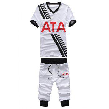 V-Neck Letters and Stripe Print Short Sleeve Men's T-Shirt Sport Suit ( T-Shirt + Capri Pants )