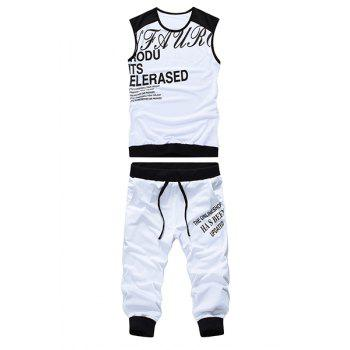 Round Neck Letters Print Sleeveless Men's Tank Top Sport Suit ( Tank Top + Capri Pants )