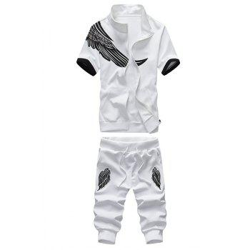 Stand Collar Wing Print Short Sleeve Men's Sport Suit ( Sweatshirt + Capri Pants )