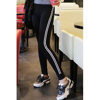 Active Elastic Waist High-Waisted Striped Women's Yoga Pants