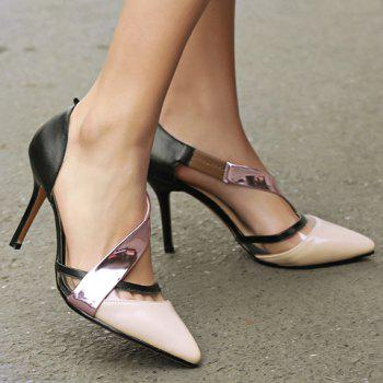 Stylish Color Block and Pointed Toe Design Women's Pumps - 39 39