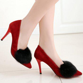 Trendy Faux Fur and Suede Design Pumps For Women - 39 39