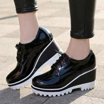 Sweet Lace-Up and Patent Leather Design Wedge Shoes For Women - 39 39