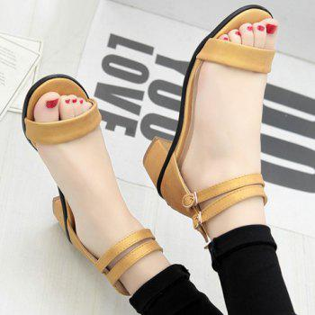 Leisure Double Strap and Chunky Heel Design Women's Sandals - YELLOW 38