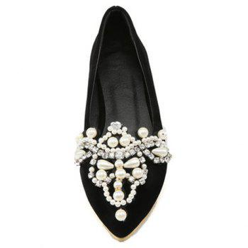 Sweet Beading and Pointed Toe Design Flat Shoes For Women - 39 39