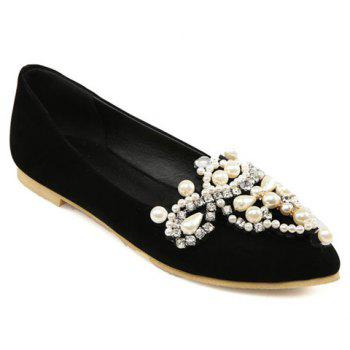 Sweet Beading and Pointed Toe Design Flat Shoes For Women