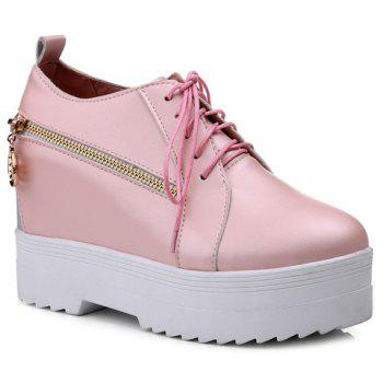 Leisure Lace-Up and Hidden Wedge Design Women's Platform Shoes - PINK 36