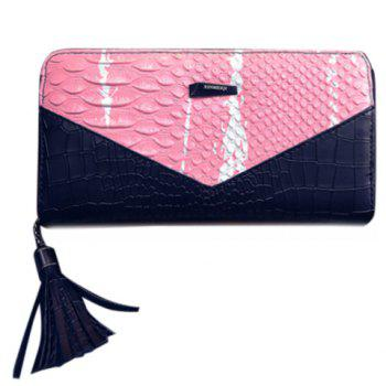Color Block Tassels Alligator Crocodile Wallet - PINK PINK