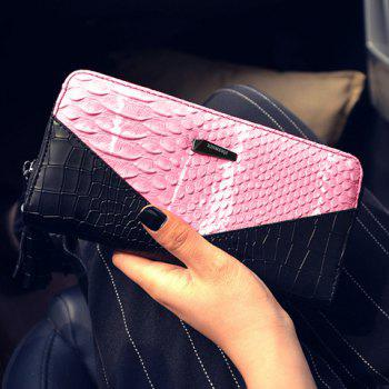 Color Block Tassels Alligator Crocodile Wallet -  PINK