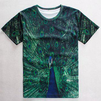 Casual Round Neck 3D Peacock Pattern Short Sleeve Men's T-Shirt