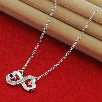Heart Rhinestone Love Infinity Necklace - SILVER