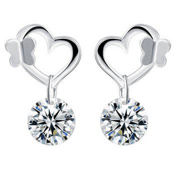 Pair of Butterfly Rhinestone Heart Wedding Earrings Jewelry