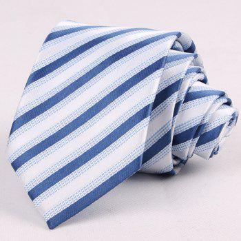 Hot Sale 7CM Width Striped Jacquard Blue Shades Tie For Men