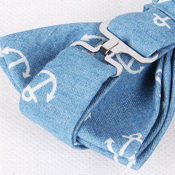 Casual Retro Denim Anchor Pattern Bow Tie For Men - ICE BLUE