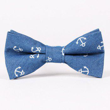 Casual Retro Denim Anchor Pattern Bow Tie For Men