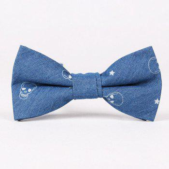 Casual Retro Star and Skull Pattern Denim Bow Tie For Men