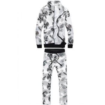 Casual Turn-Down Collar Floral Print Rib Splicing Long Sleeve Men's Hoodie+Pants