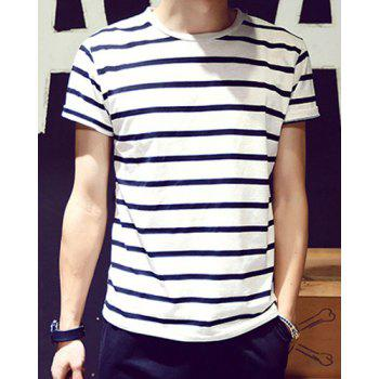 Loose Fit Round Neck Color Block Stripes Men's Short Sleeves T-Shirt