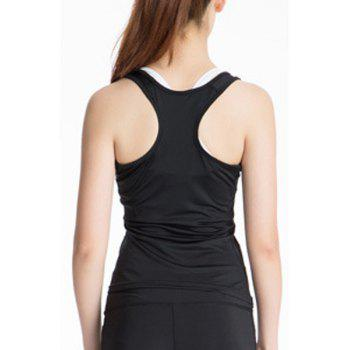 Stylish Scoop Neck Stretchy Women's Yoga Tank Top - BLACK BLACK