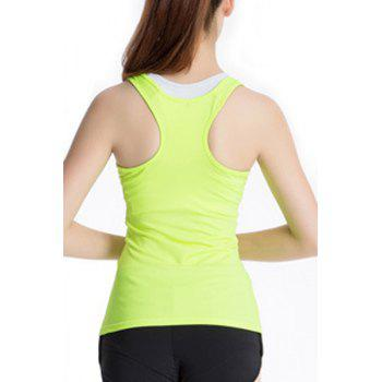 Stylish Scoop Neck Stretchy Women's Yoga Tank Top - CELADON L