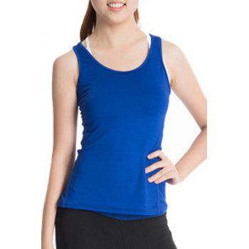 Stylish Scoop Neck Stretchy Women's Yoga Tank Top - BLUE BLUE