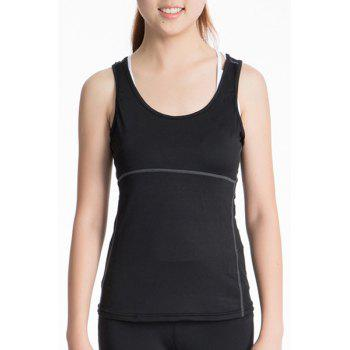 Active U Neck Stretchy Women's Yoga Tank Top - BLACK BLACK