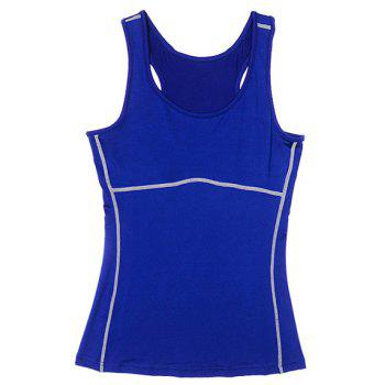 Active U Neck Stretchy Women's Yoga Tank Top - BLUE BLUE