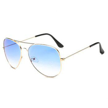 Chic Gradual Color Lenses Metal Frame Women's Sunglasses -  AZURE