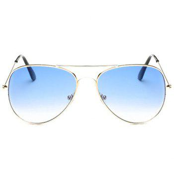 Chic Gradual Color Lenses Metal Frame Women's Sunglasses - AZURE AZURE