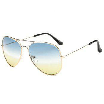 Chic Gradual Color Lenses Metal Frame Women's Sunglasses -  YELLOW