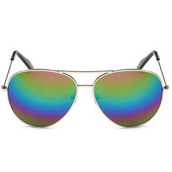 Fashionable Silver Metal Frame Rainbow Color Lenses Sunglasses - SILVER SILVER