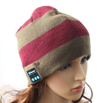 Hot Sale Outdoor Sports Bluetooth Headphones Speaker Mic Stripe Pattern Winter Knitted Beanie Hat