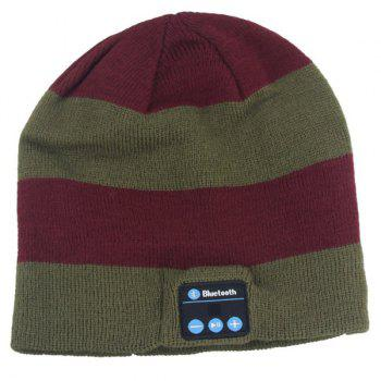 Hot Sale Outdoor Sports Bluetooth Headphones Speaker Mic Stripe Pattern Winter Knitted Beanie Hat - DARK AUBURN