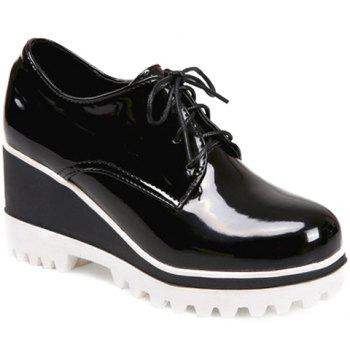 Sweet Lace-Up and Patent Leather Design Wedge Shoes For Women - BLACK BLACK