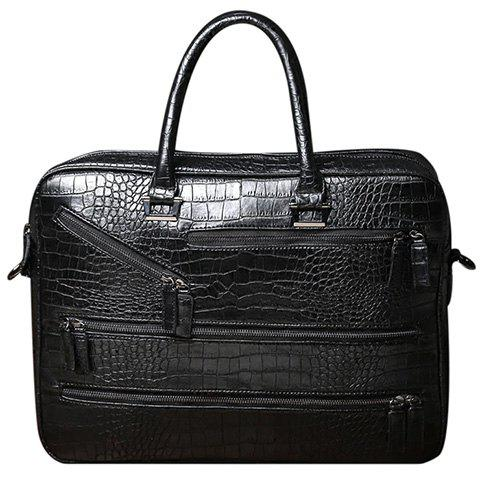Stylish Crocodile Print and Zips Design Men's Briefcase - BLACK