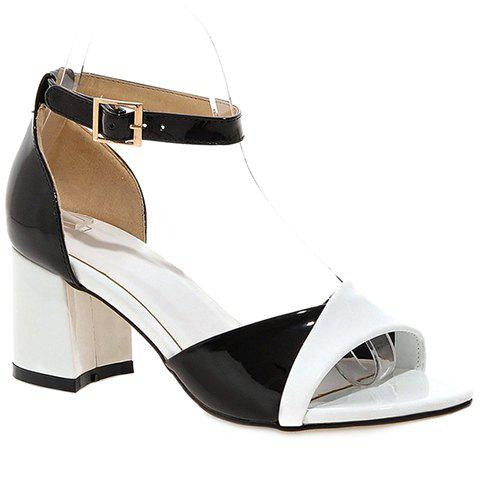Casual Color Block and Two Piece Design Sandals For Women - WHITE 39