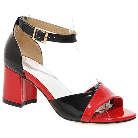 Casual Color Block and Two Piece Design Sandals For Women - RED 38