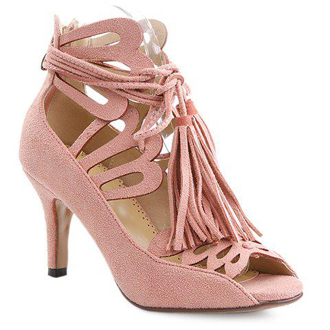 Trendy Tassels and Suede Design Pumps For Women - PINK 38