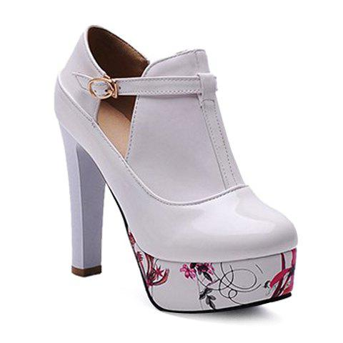 Stylish Print Platform and Chunky Heel Design Women's Pumps - WHITE 36