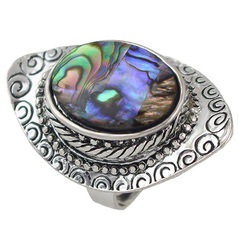 Vintage Carving Oval Faux Crystal Ring - SILVER ONE-SIZE