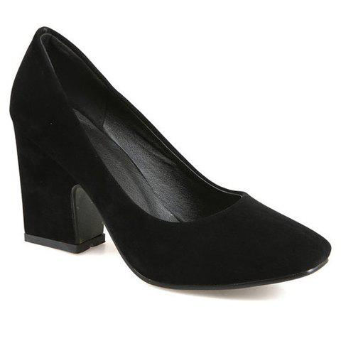Ladylike Square Toe and Chunky Heeled Design Pumps For Women - BLACK 39
