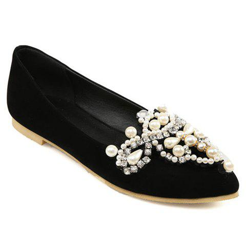 Sweet Beading and Pointed Toe Design Flat Shoes For Women - BLACK 39