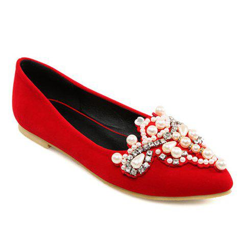 Sweet Beading and Pointed Toe Design Flat Shoes For Women - RED 37