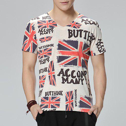 Casual Flag Printed V-Neck Short Sleeve T-Shirt For Men - COLORMIX XL