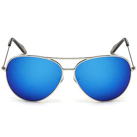 Fashionable Metal Frame Sunglasses - BLUE