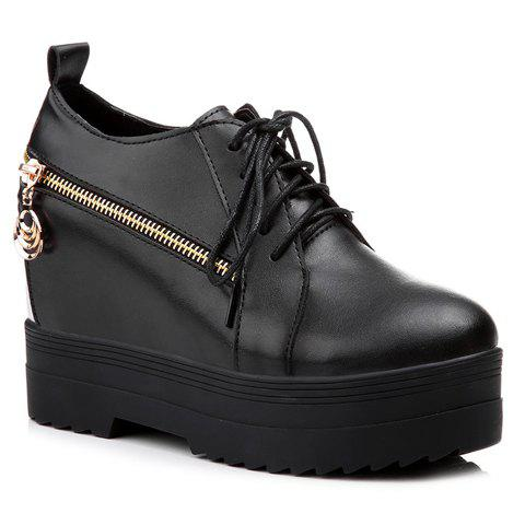 Leisure Lace-Up and Hidden Wedge Design Women's Platform Shoes - BLACK 35