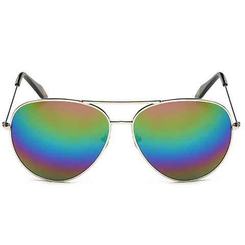 Fashionable Silver Metal Frame Rainbow Color Lenses Sunglasses - SILVER